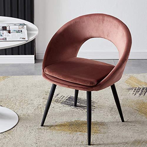 YANJ Kitchen Dining Leisure Chair,Lounge Living Room Corner Velvet Chair Black Steel Legs Reception Chair Tub Chair Armch. (Color : Pink)