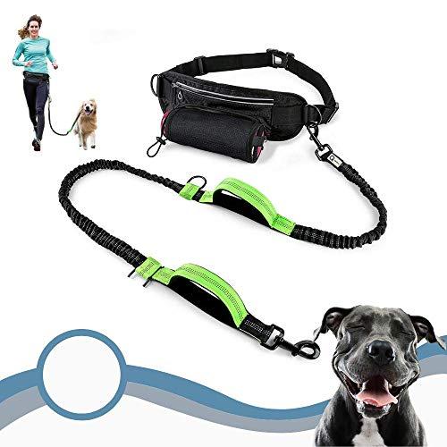 Re-Lex Reflektierende Hundeleine, freihändig, Doppelgriff, Laufleine mit stoßdämpfendem und ausziehbarem Bungee, verstellbarer Taillengurt für Laufen, Spaziergänge mit mittelgroßen oder großen Hunden