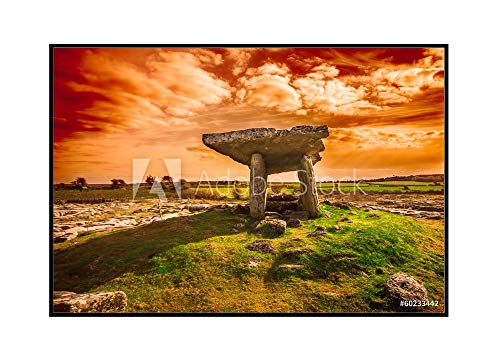 Ireland - Ancient Poulnabrone Dolmen - Photography A-92044 (24x16 Framed Gallery Wrapped Stretched Canvas)