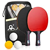 Powcan Ping Pong Set Portable Table Tennis Set Ping-Pong Game Pingpong Racket Set with 2 Table Tennis Bats/Rackets/Paddles, 3 Ping-Pong Balls & Carry Case for Trainers, Amateurs, Beginners, Expert
