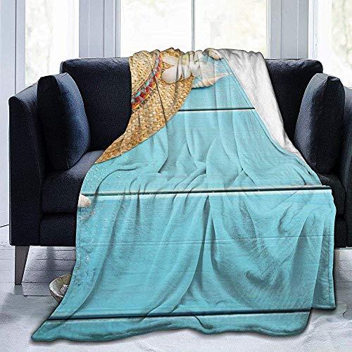 Summer Beach Seestern Muschel Sand Auf Holz-Flanell Fleecedecke Superweiche Kuschelige Warme Decke Microfleece Decke Für Couch Home Bettsofa,102X127Cm