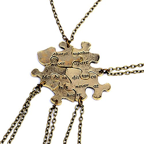 5 Pcs Vintage Best Friends Necklace Antique Brass Puzzle Pendant Set for Friends BFF Friendship Necklace