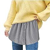 minjiSF Falda de cintura para mujer, con estampado de rayas, media pieza, antiarrugas, talla grande Negro XXL