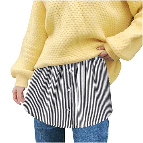 Donasty Damen Shirt Extenders Layering Fake Top Lower Sweep Set Mini Skirt Halbrock Innenrock Streifen Beiläufig Verstellbare Extender Rock Minirock für Pullover,Sweatshirt Tops