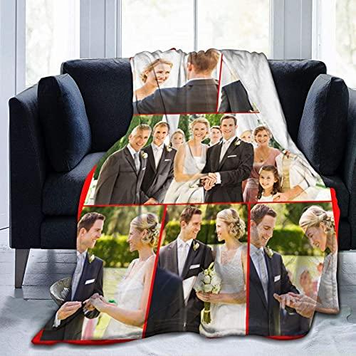 Manta personalizada con texto de fotos personalizado manta para adultos niño madre padre, collage de fotos, 50 x 40 pulgadas