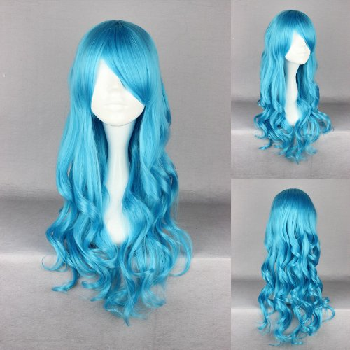 Ladieshair Cosplay Perücke türkis 70cm lockig