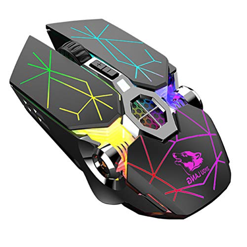 Mouse Gaming, Mouse da Gioco Wireless, USB Ricaricabile Mouse per Gioco, 2400 DPI, 6 Pulsanti, 7 Multicolore Retroilluminato, for PC Laptop Windows 7 8 10 XP Vista MAC Linux Plug & Play