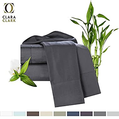 Bamboo Bed Sheet Set, Gray, King Size, By Clara Clark, 100% Rayon Made From Bamboo Sheets, Luxury Super Silky Soft With Extra Thick Corner Elastic Straps On Fitted Sheet, Machine Washable