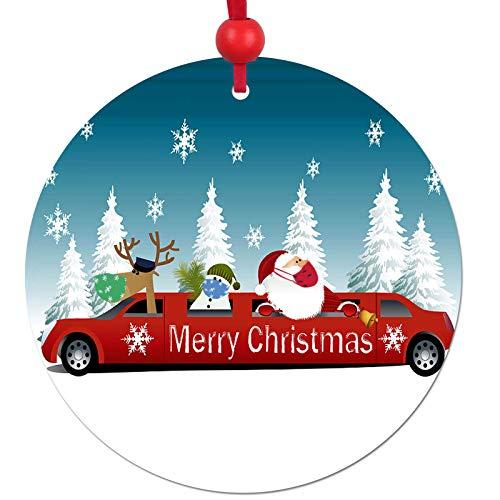 2 PCS 2020 Christmas Ornament, 2020 Santa Claus Souvenir Tree Hanging DIY Ornaments Friends Gift Creative Decorating Kit Customized Mini Ornament for Family (D)