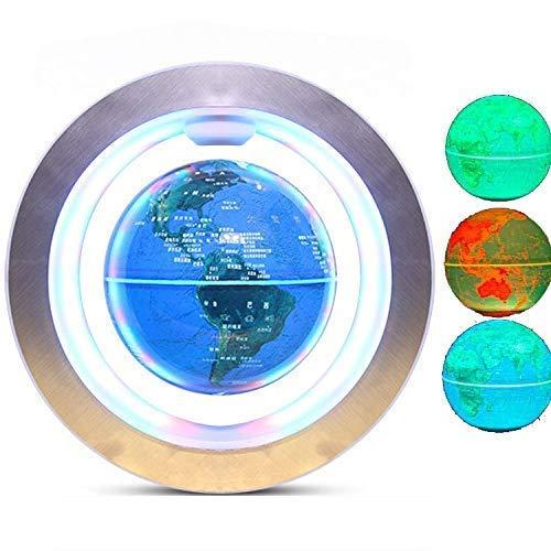 XUSHEN-HU Globo flotante de levitación magnética con mapamundi – colorido LED luz educativa regalos herramienta hogar oficina decoración escritorio creativa novedad regalos mundo