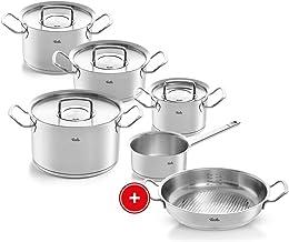 Fissler Pure Profi Collection Roestvrijstalen pannenset + gratis serveerpan, 5-delig, pannen met metalen deksel (3 kookpan...