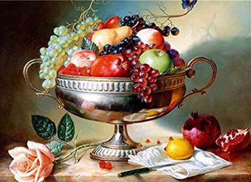 Rijke fruitschaal Verf op nummer Kits Diy Digitaal schilderen Kleuren op canvas Olieverf door uzelf Handgemaakte 16X20 inch Frameloze