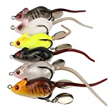 okdeals 6pcs Mouse Artificial Topwater Lures Baits, 3D Mice Fishing Lure Kit for Bass Snakehead, Freshwater Soft Bait