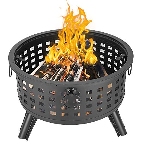 Henf 26'' Outdoor Fire Pit Metal Bonefire Pit Round Lattice Fire Pit Garden Stove Wood Burning Firebowl with Spark Screen Cover, Poker for Backyard Patio Deck Fire Pit