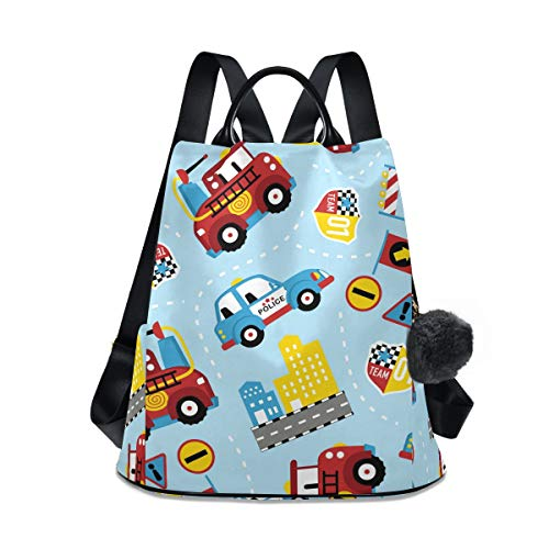 Building Fire Truck Fashion 12.9 13 Inch Notebook Laptop Backpack for Women/Girls, Polyester Shoulders Bag Cosmetic Daypack for Travel School