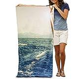 yuiytuo Toalla de baño,Juegos de Toallas Beach Towel White Sailboat Polyester Velvet Beach Towels