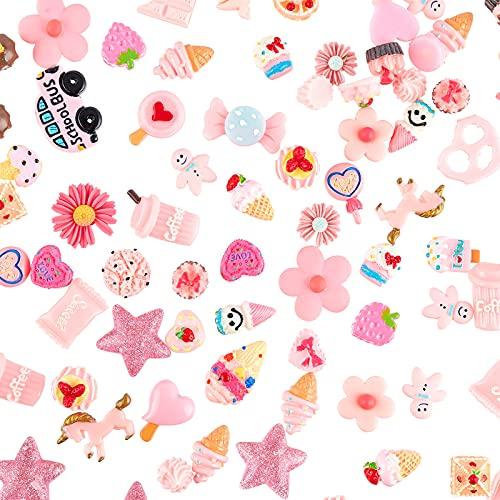 PandaHall Circa 100 PCS Rosa Forma Mista Caramella Torta Flatback Cabochon per DIY Scrapbooking Craft Creazione di Gioielli