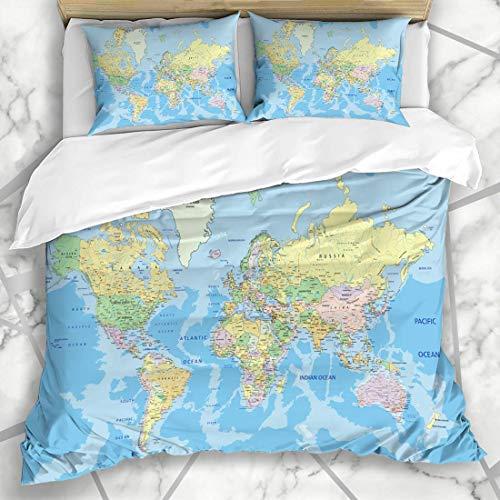 Conjuntos de fundas nórdicas Detalle azul pastel Muy detallado Mapa del mundo político Globo Etiquetado Atlas País África Geografía Ropa de cama de microfibra Super King Size con 2 fundas de almohada