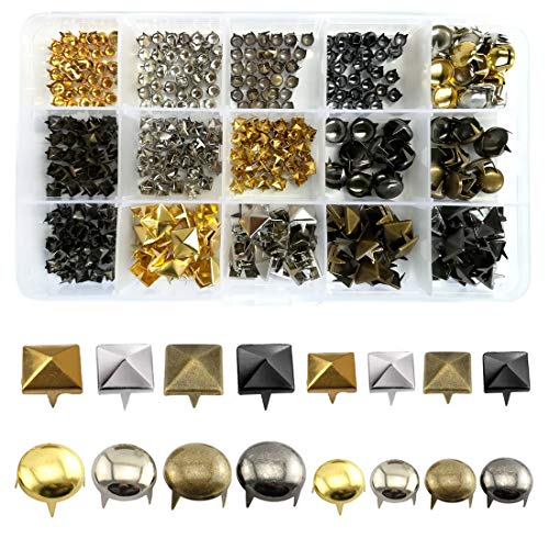 ACTENLY 480pcs 4 Colors 2 Style Kit Including Nailhead Round Dome Studs Leathercraft Rivet, Four-Jaw Square Rivets, Use for Punk Rock Leather Craft Clothes Belt Bag Shoes Jewelry Decorations