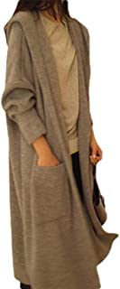 Womens Mid Long Long Sleve Hooded Solid Colored Cardigan Outwears