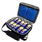 Red Suricata Insulated Slim Cooler - Thin, Flat Cooler Lunch Bag Fits 10 Drink Cans - 2 Free Slim Reusable Ice Packs - The Ultimate Small Man Bag for Beer, Hideaway Inside Backpack (Black)