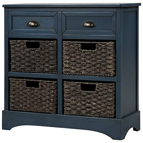 Knocbel Home Collection Wicker Storage Cabinet, Fully Assembled Solid Wood 4-Basket Chest with 2 Drawers for Kitchen/Dining Room/Entryway/Living Room, 28'L x 11.8'W x 28'H (Antique Navy)