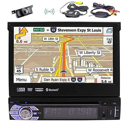 FWZJ ¡Cámara retrovisora inalámbrica incluida! Pantalla táctil LCD retráctil de 7 Pulgadas Single DIN Android 6.0 Car Stereo con Bluetooth/WiFi, Reproductor de CD/DVD y Puertos USB/microS