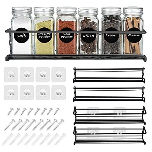 Organizador Especias Autoadhesivo, Set de 4 Estantes de Metal, Especiero de Cocina, Organizador de Condimentos para Puerta de Despensa o Armario, Negro