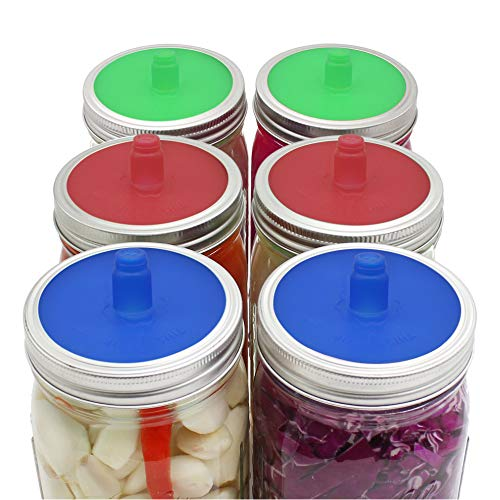 Pack of 6 Waterless Airlock Fermenting Lids for Wide Mouth Mason Jar, Food-Grade Silicone Fermention Lids for Sauerkraut, Kimchi, Pickles and Other Fermented Probiotic Food, 3 Colors