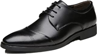 Zapatos Oxford Hombre, Cuero Vestir Cordones Derby Calzado Boda Negocios Brogue Negro Marron Rojo 37-47EU