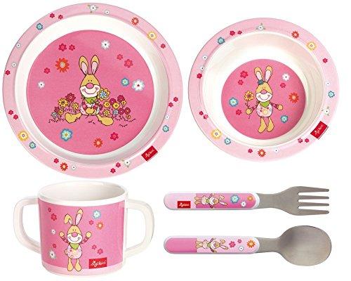 Sigikid Melamin Geschirr-Set Hase Bungee Bunny 4-teilig Geschenkset I Melamin, Tasse, Schüssel, Teller, Besteck, zur Geburt, Taufe, Geburtstag, Mädchen
