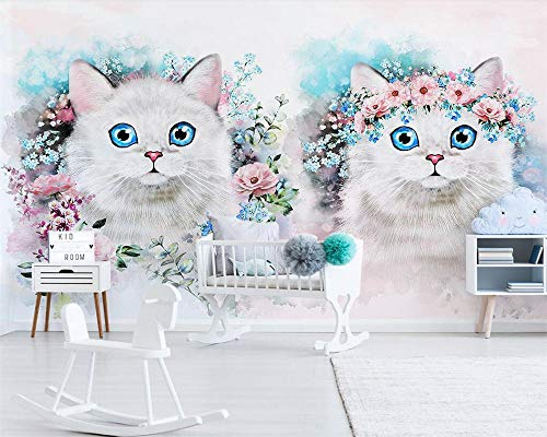 Simple Flower Kitty Children s Room Decoration Background Living Room Bedroom 3D - 400x280 Cm/157.5X110.2 Inch