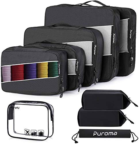 Puroma Packing Cubes, 4 Sizes Travel Luggage Organizers with Shoe Bags, TSA Approved Toiletry Bag, Laundry Bag and Luggage Name Tags