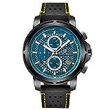 Orologi Da Polso,Moda Sportiva Impermeabile Con Orologio Con Funzione Calendario, Guscio Nero Blu Ago Giallo