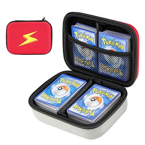 Cpano Travel Carrying Card Case für Pokemon-Sammelkarten, Kartenspieletui für bis zu 400 Karten. Abnehmbare Trennwand und Handschlaufe (Roter Blitz)