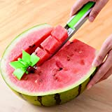 Watermelon slicer cutter Windmill Auto Stainless Steel Melon Cuber Knife Corer Fruit Vegetable Tools Kitchen Gadgets (Green)