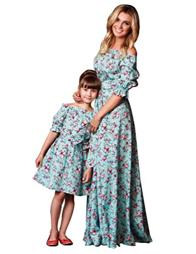 YOUJIA 1/2-Arm Schulterfrei Maxi Empire Dress Floral Ruffled Familienkleidung Mutter und Tochter Kleider (Floral, M)