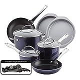 Farberware 11857 Luminescence Nonstick Cookware Pots and Pans Set, 16 Piece, Sapphire Shimmer