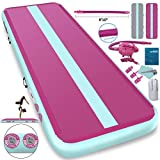 Furgle 10ft Inflatable Airtrack Gymnastics Tumbling Floor Mat,Tumble Track Air Mat,Home Use Air Tracks with Electric Air Pump for Kids/Gym/Training/Pool (10ftx3.3ftx8inch, Pink)