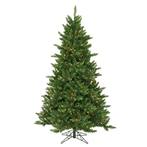 6.5′ pre-lit northern pine full artificial christmas tree – multi-color led lights silk flower arrangements