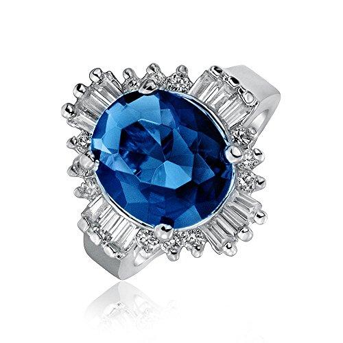 Bling Jewelry Art Déco-Stil Royal Blau Oval Baguette Halo 6 Ct-CZ Simulierten Saphir Aussage Ringe Für Damen Messing