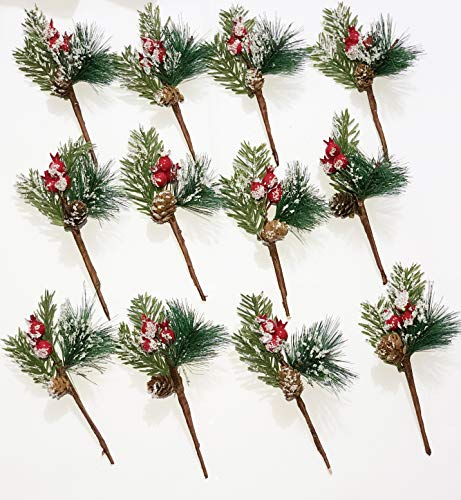 12 Pcs Packs Artificial Pine Picks Christmas Decorations,Christmas Holly Leaf Picks Sprays with Red Berries Pine Cones Pinecones Frosted,Wreaths Decor and Holiday Decorations (Style-1)