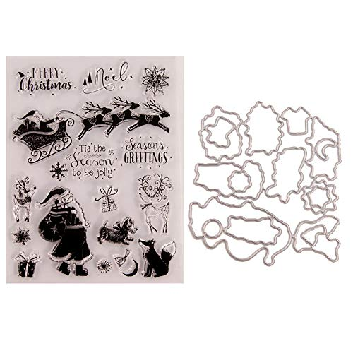 6.1 by 8.1 Inch Santa Claus on Christmas Deer Sled Sending Gifts Stamp and Die Sets for Card Making and Scrapbooking Snow Flower Bird Letters Clear Rubber Stamps and Dies (T1610)