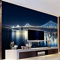 LHGBGBLN 3Dリビングルーム壁画壁紙シティナイトブリッジソファ背景壁ステッカー寝室壁紙壁アート装飾