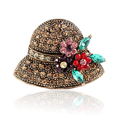 Youkara Ladies Brooches Cute Hat Shape Brooch Pins Scarves Shawl Clip Brooches Jewelry Gift for Women Vintage Gold
