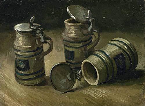JH Lacrocon Van Gogh - Bierkrüge Leinwandbilder Reproduktionen Gerollte 70X50 cm - Stillleben Gemälde Gedruckt Wandkunst