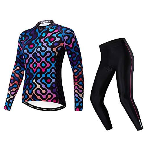 weimostar Maillot de ciclismo conjuntos de manga larga para mujer bicicleta de...