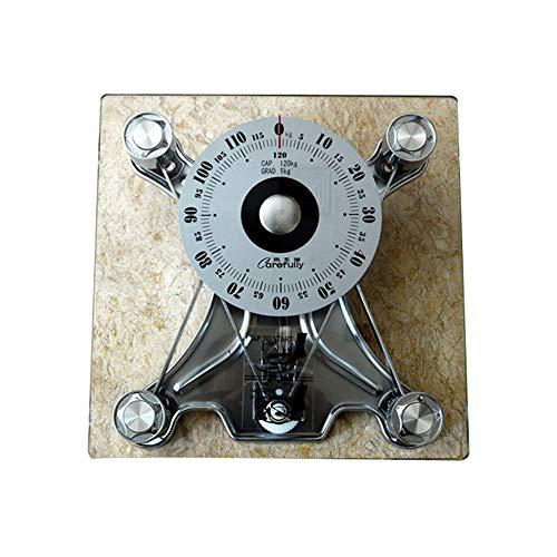 LYAH Báscula mecánica cuadrada -Báscula de Peso Corporal, Panel de vidrio templado de 8 mm, 120kg / 260lbs