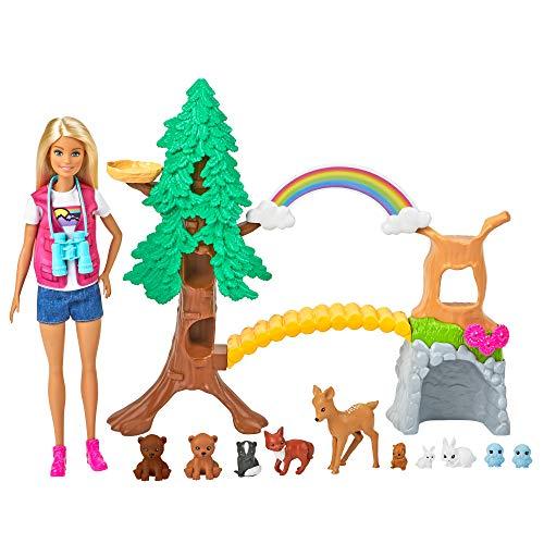 Barbie GTN60 - Waldtier-Forscherin Spielset mit blonder Barbie-Puppe und 10Tierfiguren