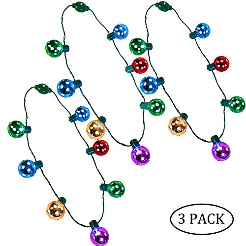 JOYIN 3 Pack Christmas LED Disco Necklace Light Up Holiday Accessories Party Favors 7 LED Disco Lights